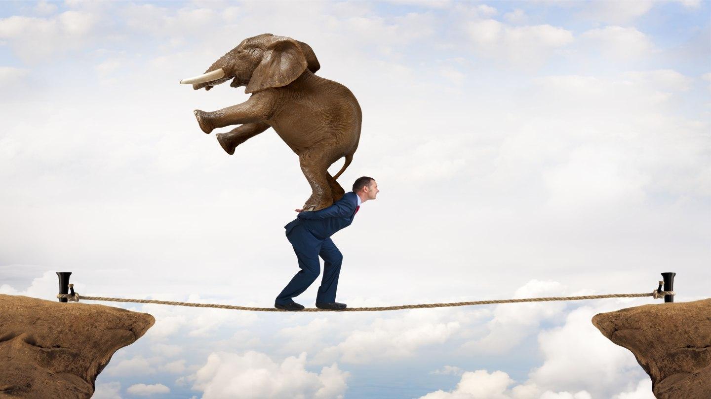 Empresário buscando o ponto de equilíbrio com um elefante nas costas.